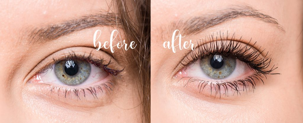 Lashcode mascara - effects before and after